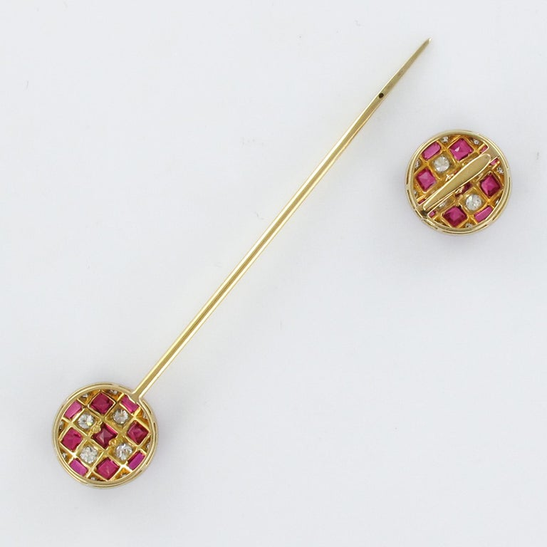 1900s Ruby Diamond Yellow Gold Jabot Pin For Sale 9