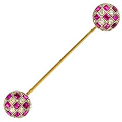 1900s Ruby Diamond Yellow Gold Jabot Pin