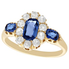 1900s Sapphire and Diamond Yellow Gold Cocktail Ring