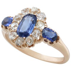 1900s Sapphire and Diamond Yellow Gold Dress Ring