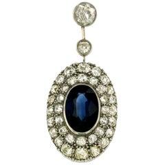 1900s Sapphire Diamond 6 Carat Gold Pendant