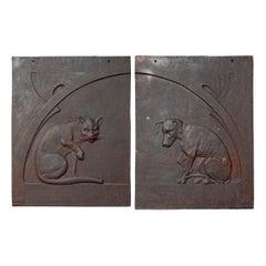 1900s Set of Cast Iron Jugendstil Dog and Cat Relief Fireback or Facade Plaques