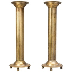 1900s Set of Large English Silver Plated Classical Church Column Candlesticks