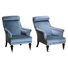 1900s Set of Two Ice Blue Velvet Dorothy Draper Style Bergère Club Lounge Chairs