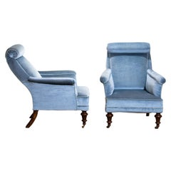 1900s Set of Two Ice Blue Velvet Dorothy Draper Style Bergère / Lounge Chairs