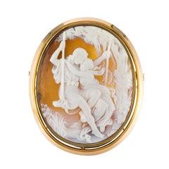 1900er Muschel Cameo 18 Karat Gelbgold Brosche Anhänger