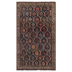 1900s Shirvan Handmade Wool Rug in Blue, Brown, Gold, Green, Pink and Red