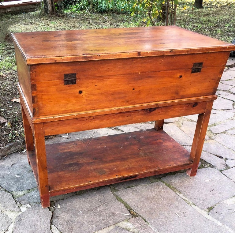 Sideboard in original antique Tuscan fir, with opening door and stick.  Size: 114 x 62 x 92 H  Period: 1900   In ancient times it was used to contain flour and knead bread  Rare and typical piece of furniture from Tuscany.