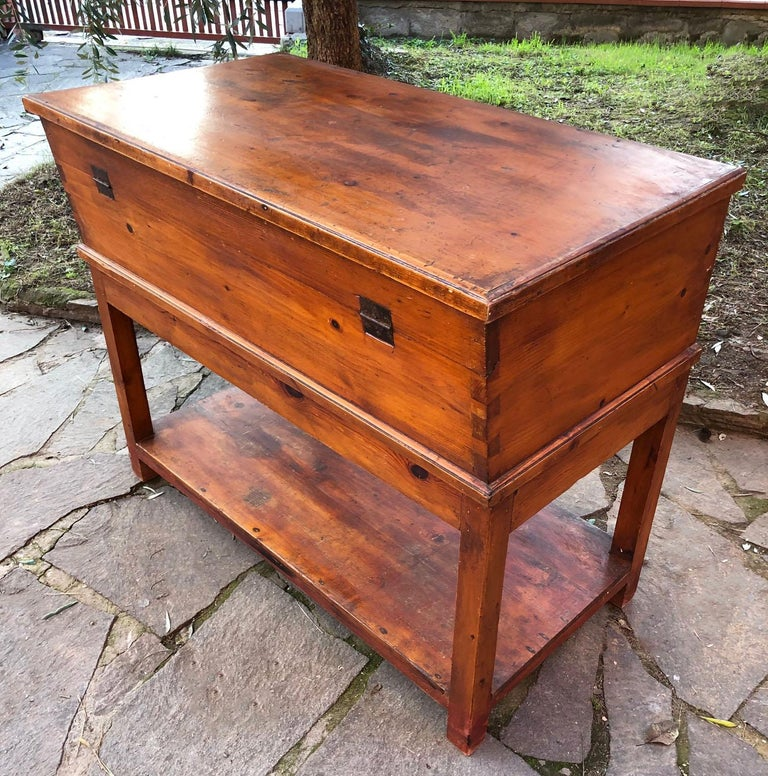 Country 1900s Sideboard in Original Antique Tuscan Fir, with Opening Door For Sale