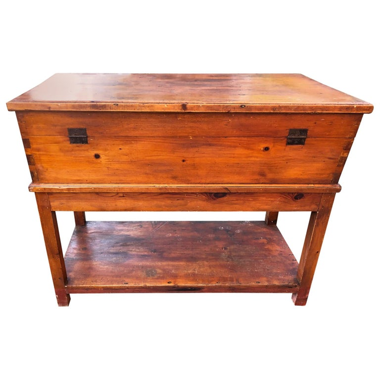 1900s Sideboard in Original Antique Tuscan Fir, with Opening Door For Sale
