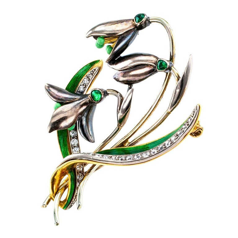 Art Nouveau 1900s Snow Drop Enamel Emerald Diamond Gold Brooch For Sale
