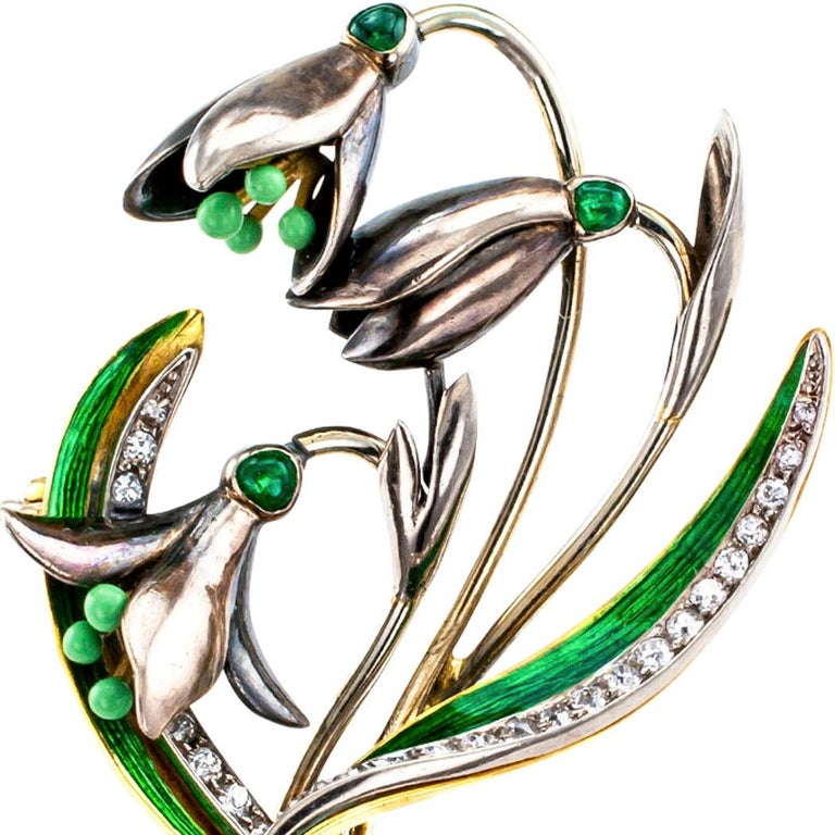 Women's 1900s Snow Drop Enamel Emerald Diamond Gold Brooch For Sale