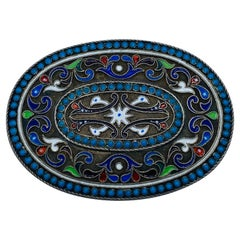 1900s Sovet Sterling Silver and Enamel Buckle Pendant