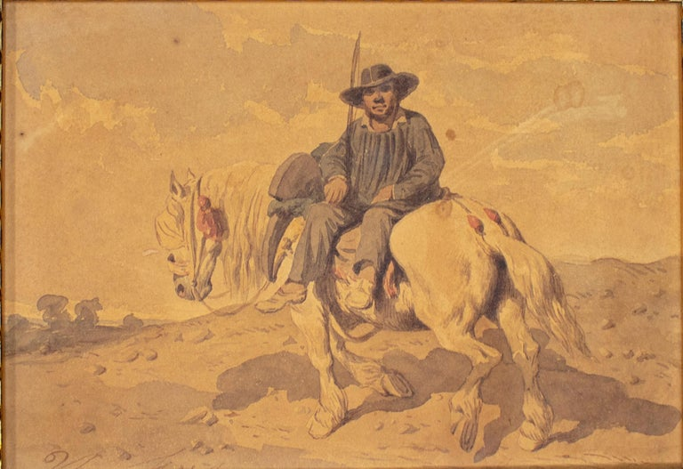 1900s Spaniard on a horse watercolor painting.  Dimensions with frame: 19 x 23 x 4.5cm.