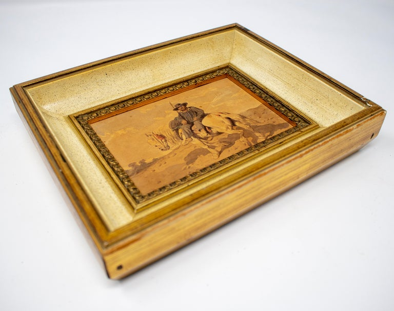 Spanish 1900s Spaniard on a Horse Watercolor Painting For Sale