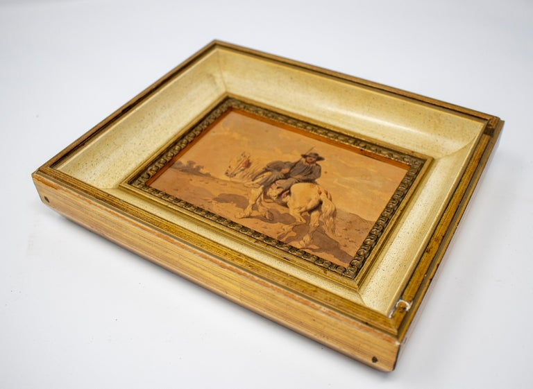 Hand-Painted 1900s Spaniard on a Horse Watercolor Painting For Sale