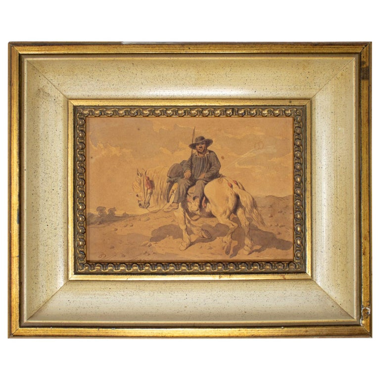 1900s Spaniard on a Horse Watercolor Painting For Sale