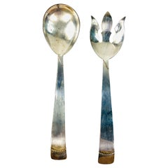 1900s Sterling Silver Large Spoon and Fork, Salad Set