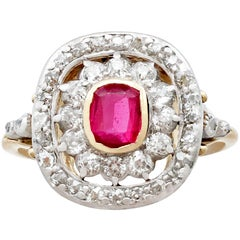 1900s Synthetic Ruby and Diamond Yellow Gold Cocktail Ring