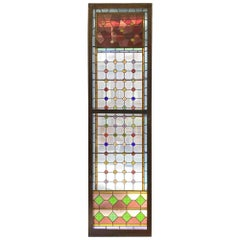 1900s Tall Victorian Stained Glass Window with 61 Round Color Jewels