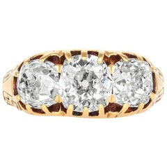 1900s Three-Stone Engagement 18 Karat Yellow Ring