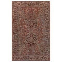 1900s Turkish Hereke Dusty Rose and Burgundy Handmade Wool Carpet