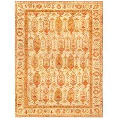 1900s Turkish Oushak Beige, Yellow, Orange and Rose Handwoven Wool Rug