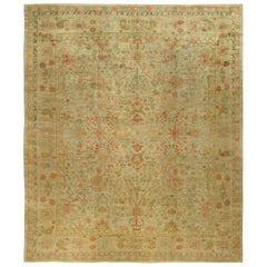 1900s Turkish Oushak Floral Design Handmade Rug in Camel and Red