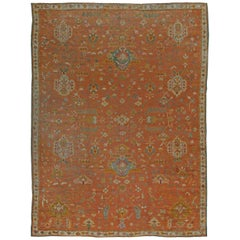 1900s Turkish Oushak Rug 'Size Adjusted' in Red, Orange and Blue