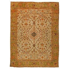 1900s Turkish Oushak Soft Camel and Orange with Floral Motifs Handwoven Wool Rug