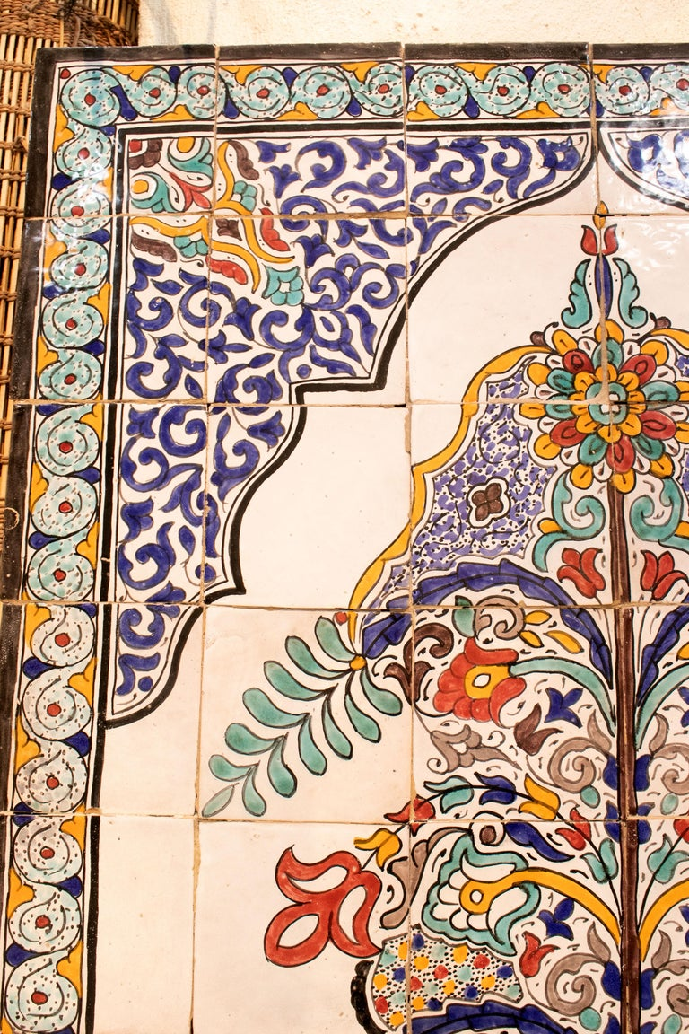 1990s Turkish possibly Iznik pottery hand painted glazed ceramic tiles.