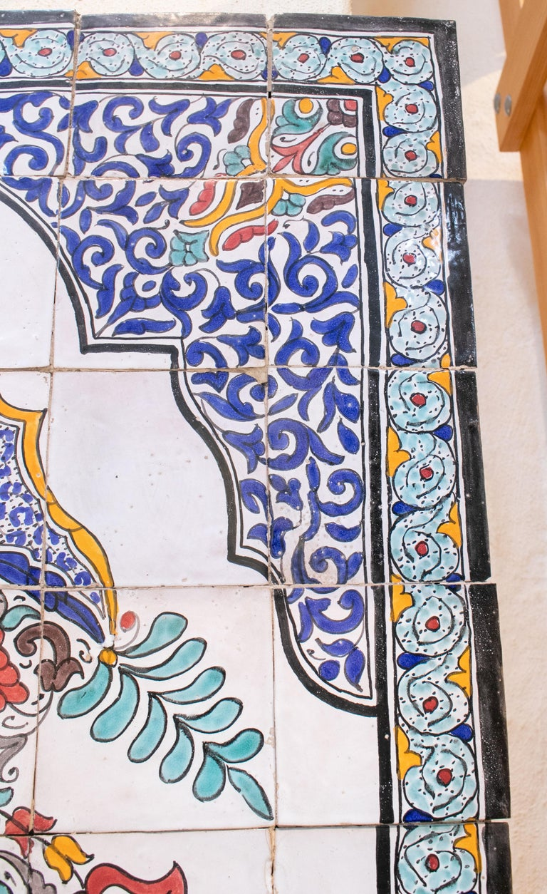 Hand-Painted 1900s Turkish Possibly Iznik Pottery Hand Painted Glazed Ceramic Tiles