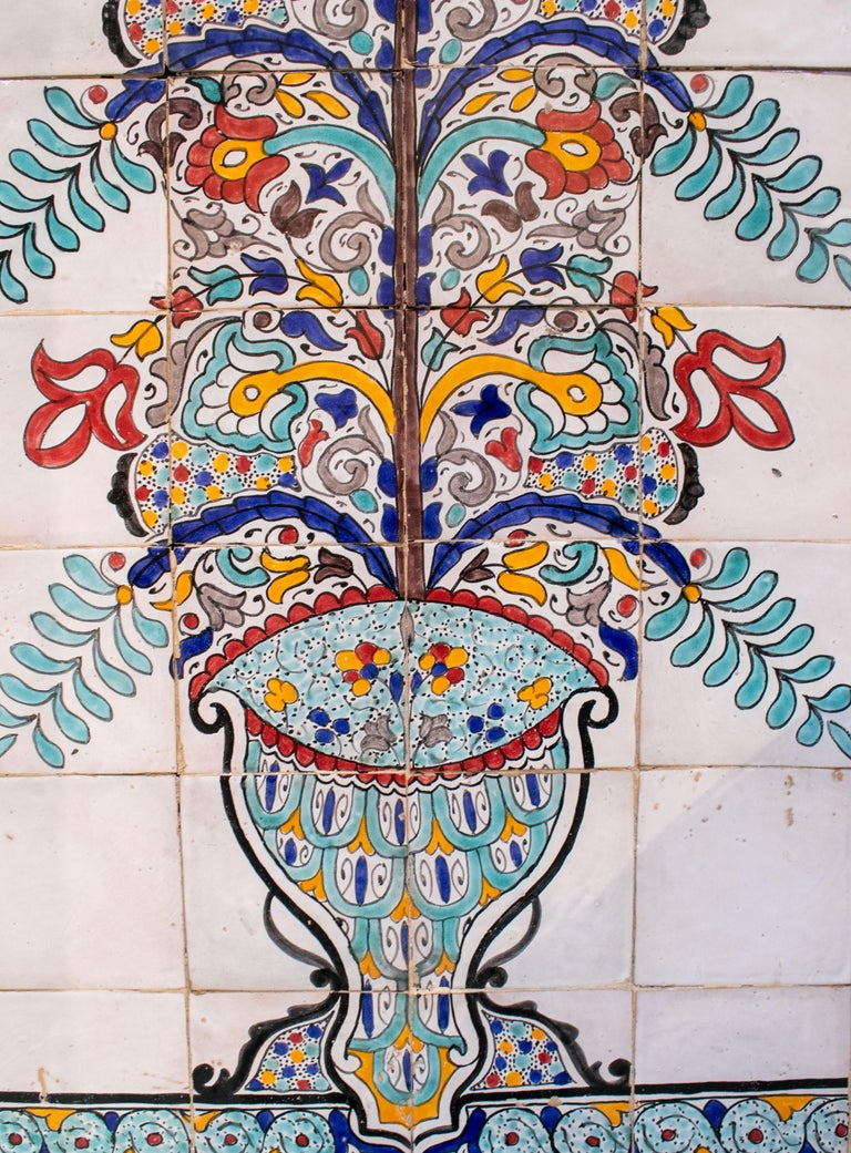 1900s Turkish Possibly Iznik Pottery Hand Painted Glazed Ceramic Tiles In Good Condition In Malaga, ES