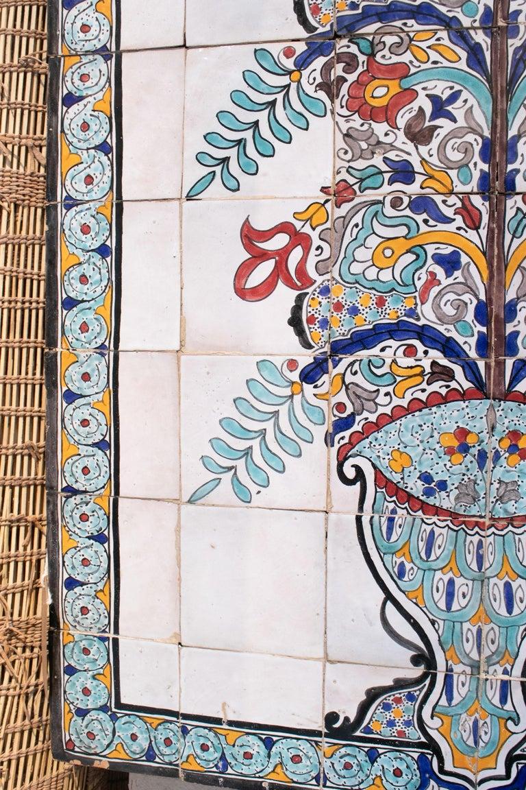 1900s Turkish Possibly Iznik Pottery Hand Painted Glazed Ceramic Tiles 1