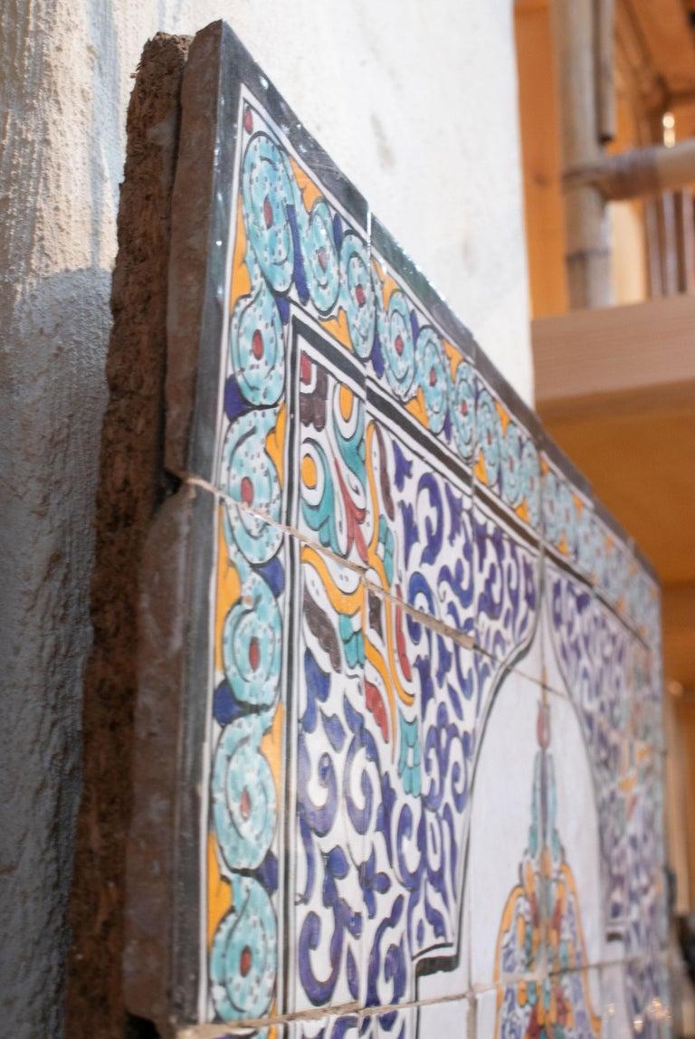 1900s Turkish Possibly Iznik Pottery Hand Painted Glazed Ceramic Tiles 2