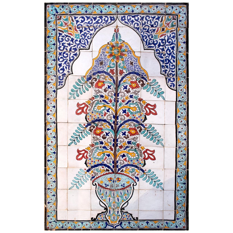 1900s Turkish Possibly Iznik Pottery Hand Painted Glazed Ceramic Tiles
