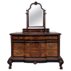 1900s Venetian Baroque Dresser with mirror in Burl Walnut with Ebonized Details