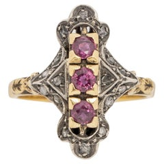 1900's Victorian Two Tone 18K Antique Three Stone Ruby Shield Ring