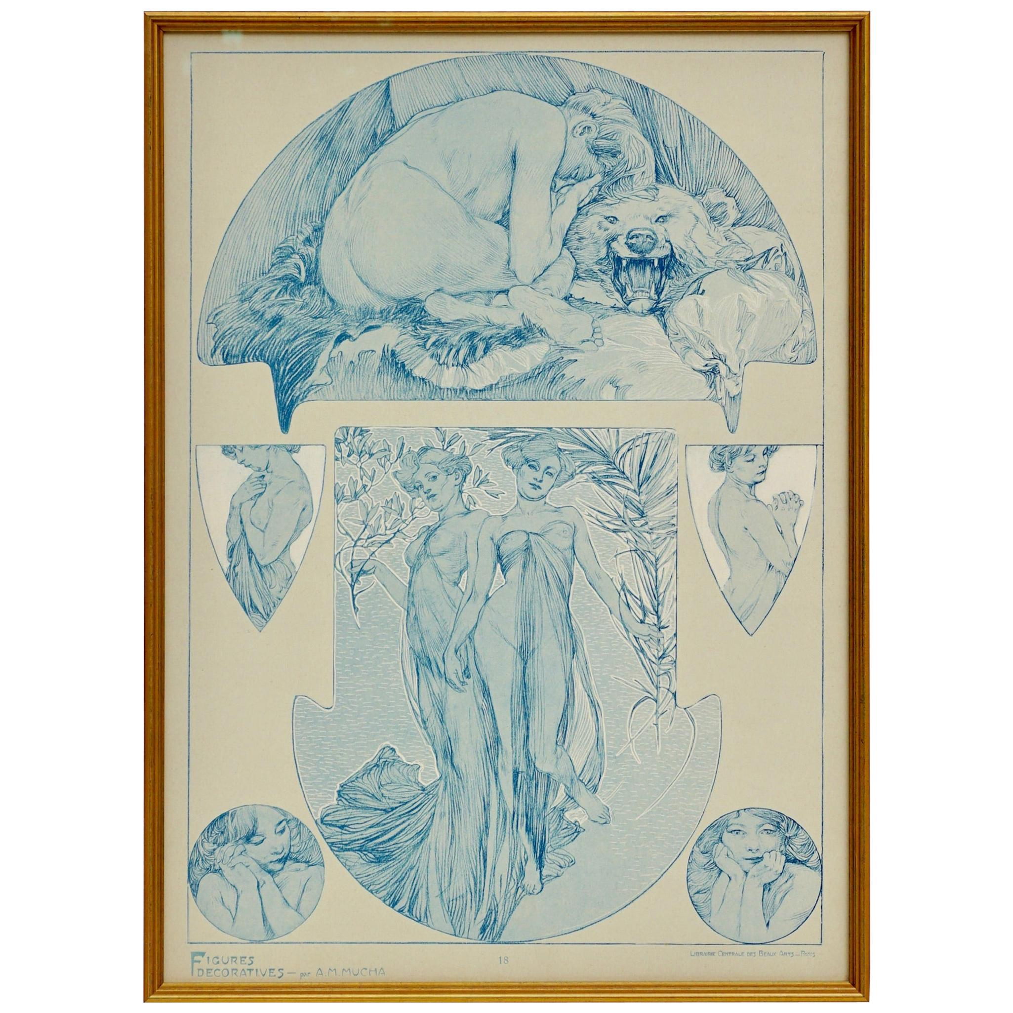 1900s Vintage Alphonse Mucha Collotype Poster