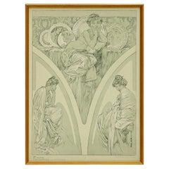 1900s Vintage Alphonse Mucha Poster