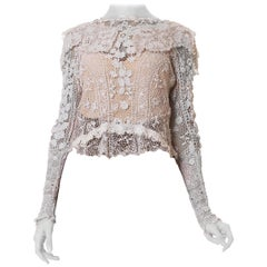 1900S White Hand Done Cotton Irish Crochet Long Sleeve Blouse With Collar