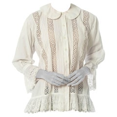 Victorian White Organic Cotton & Lace Oversized Jacket Top