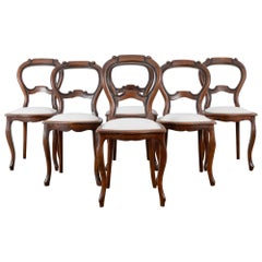 1900s Wooden Dining Chairs, Set of Six