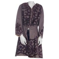 1900S Grey Wool Coat With Velvet Scroll Appliqués