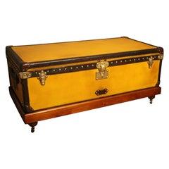 1900s Yellow Canvas Louis Vuitton Steamer Trunk