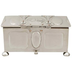 1901 Antique Edwardian Art Nouveau Style Sterling Silver Jewelry Casket