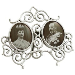 1901 Antique Edwardian Sterling Silver Double Commemorative Frame