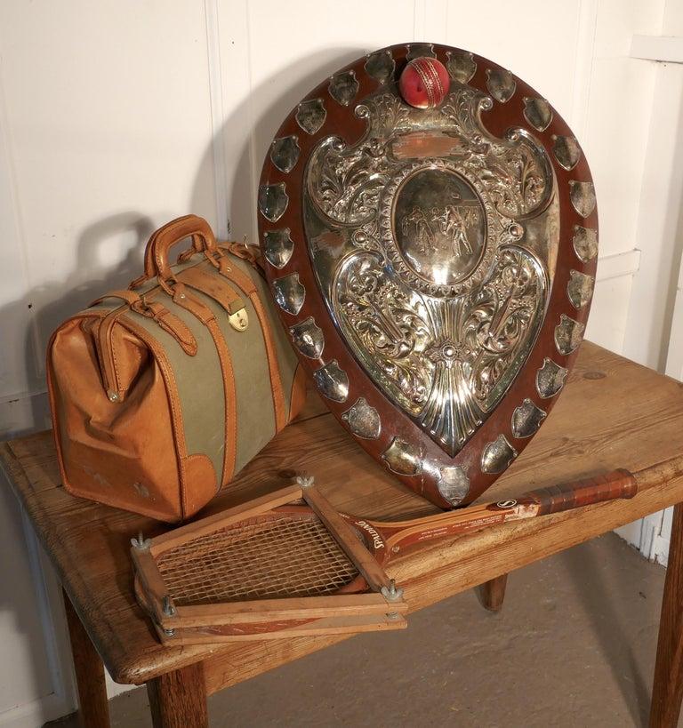 1901 Art Nouveau Sheffield Plate Cricket Trophy Shield by Walker Hall & Sons For Sale 6