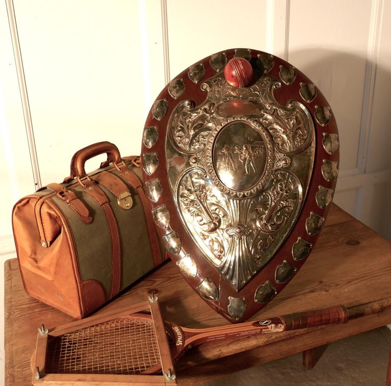 1901 Art Nouveau Sheffield Plate Cricket Trophy Shield by Walker Hall & Sons For Sale 7