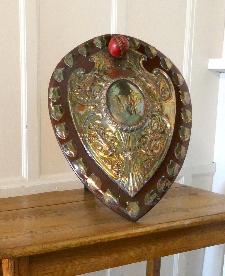 1901 Art Nouveau Sheffield Plate Cricket Trophy Shield by Walker Hall & Sons For Sale 8